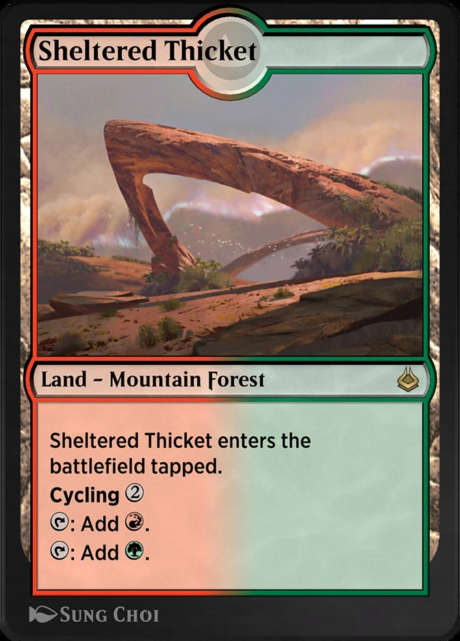 Carta /Sheltered Thicket de Magic the Gathering