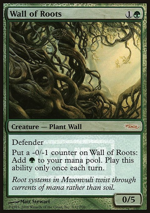 Carta Barreira de Raízes/Wall of Roots de Magic the Gathering
