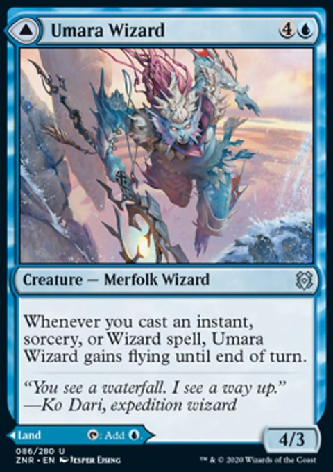 Carta /Umara Wizard // Umara Skyfalls de Magic the Gathering